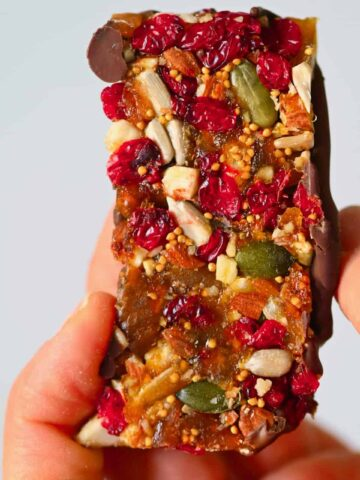 Square photo fruit and nut bar