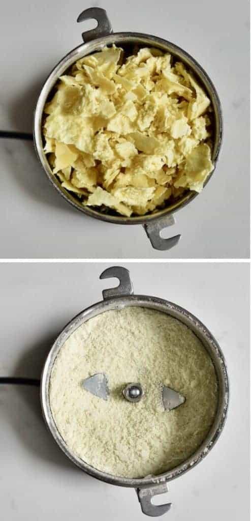 Grinding milk powder