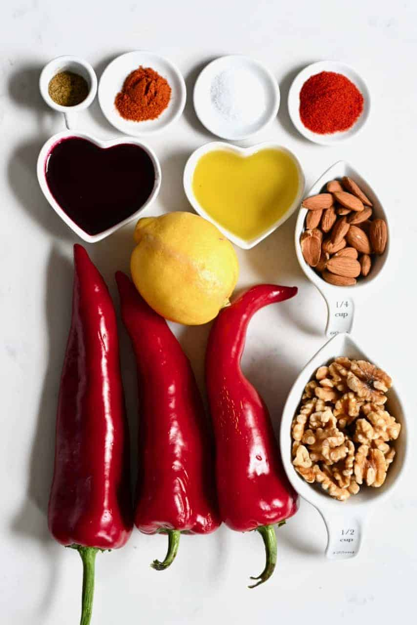 Ingredients for homemade healthy Muhammara