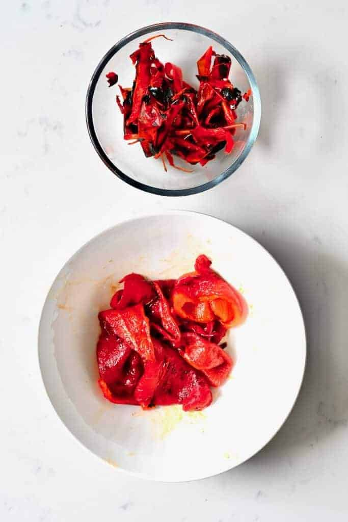 Cleaned roasted peppers