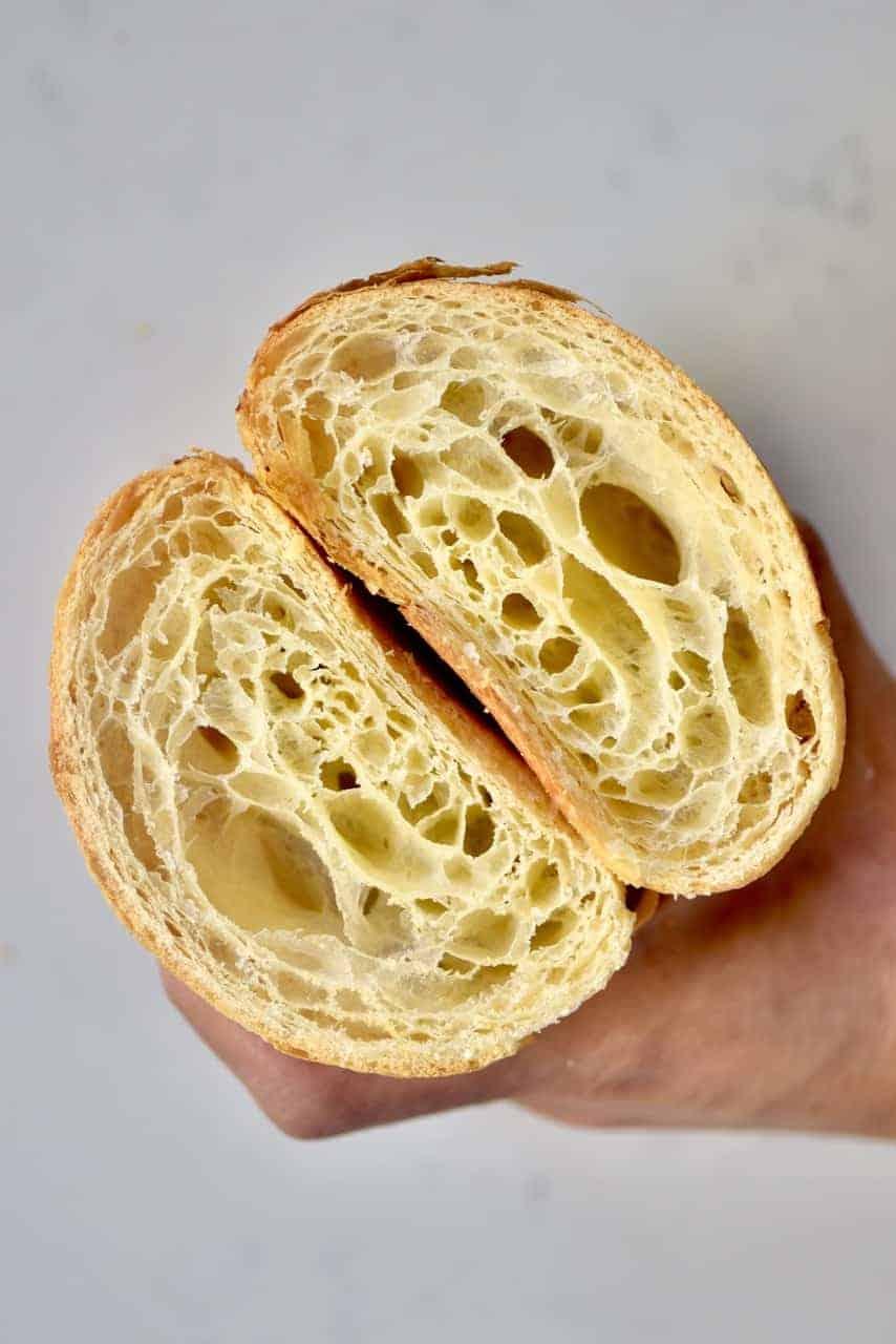 Sliced open homemade croissant