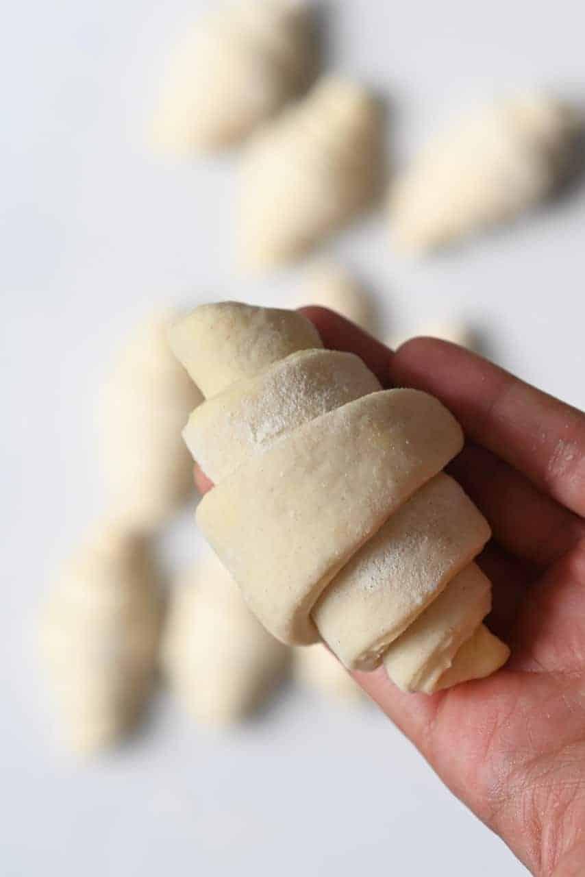 Homemade croissant ready to bake
