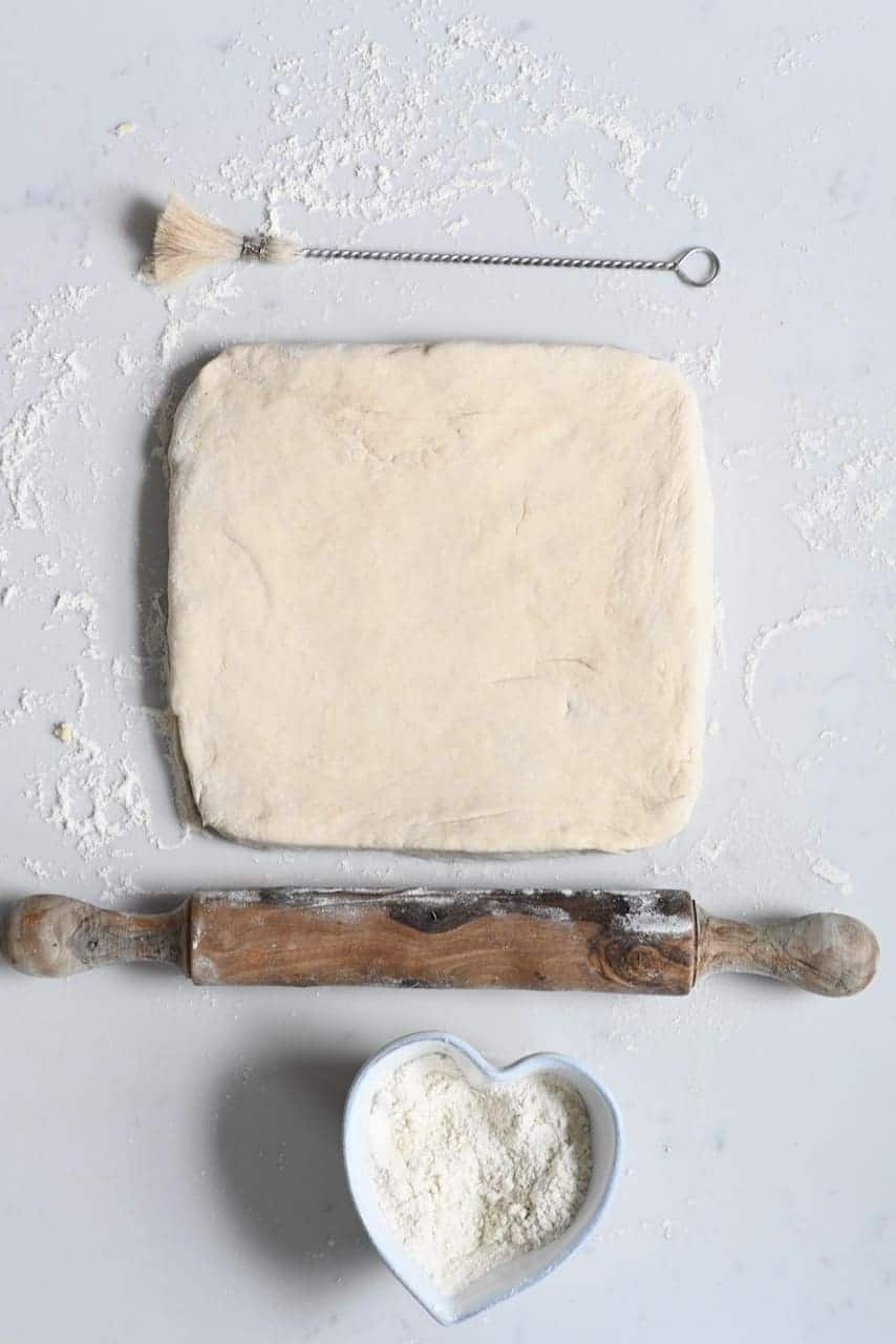 Squared dough for homemade croissant
