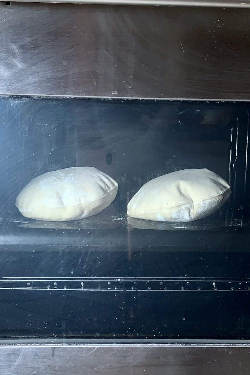 Baking pita tray in an oven
