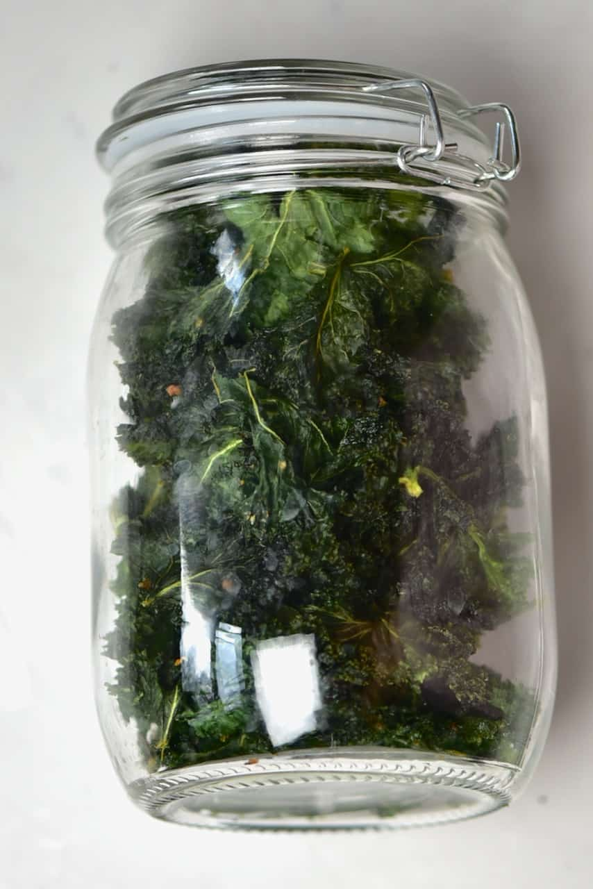 Kale chips stored in a jar