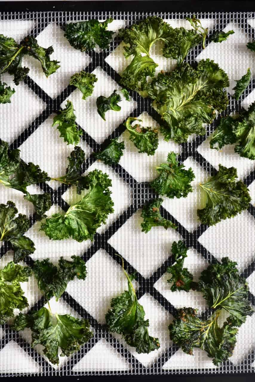 Kale chips on a tray