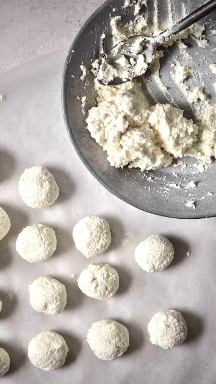 Homemade Labneh shaped into balls