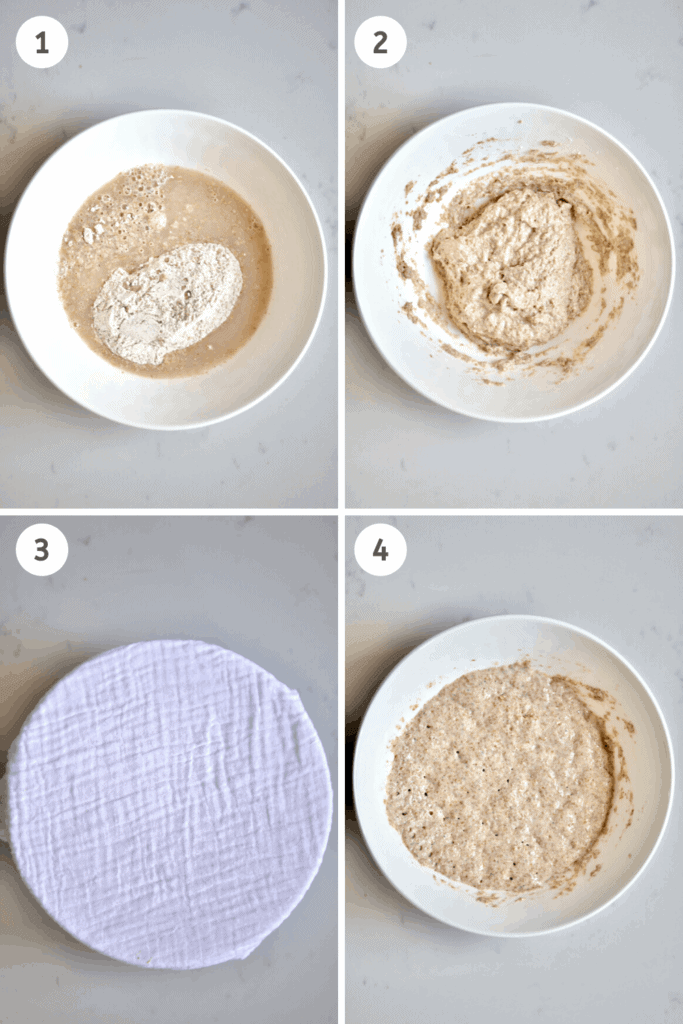 Making poolish for Wholewheat Bread