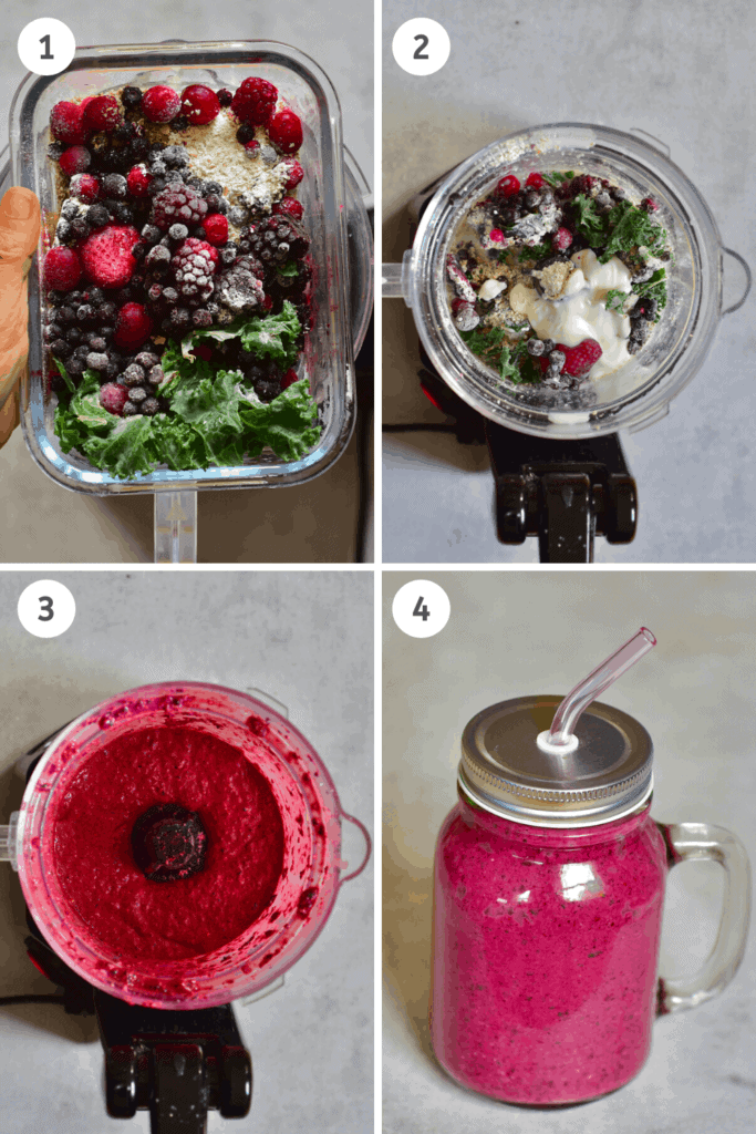 Mixed Berries Smoothie Steps