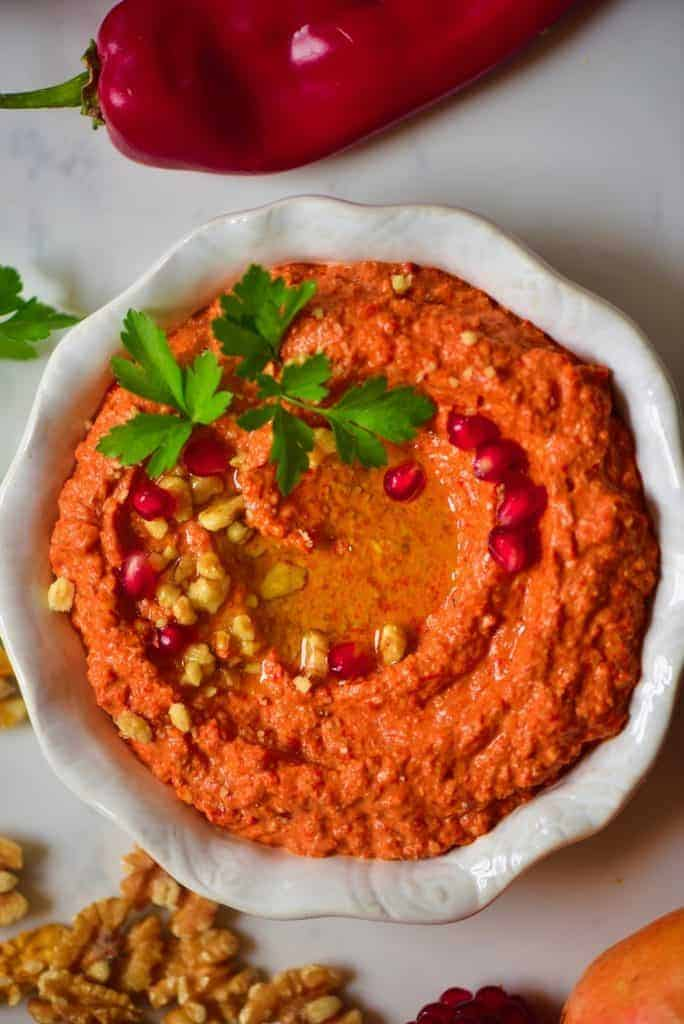 Homemade healthy Muhammara dip (roasted red pepper dip)