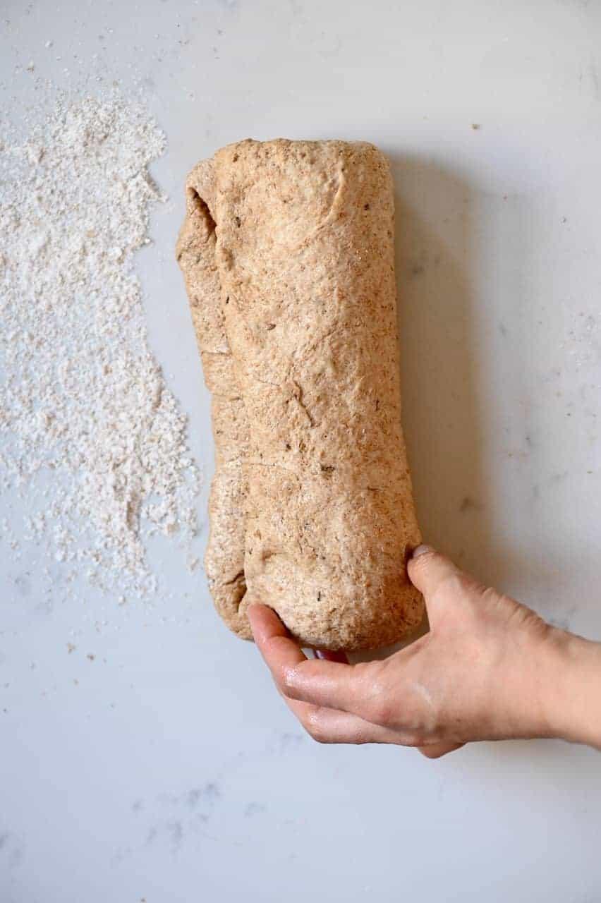 Folded bread dough