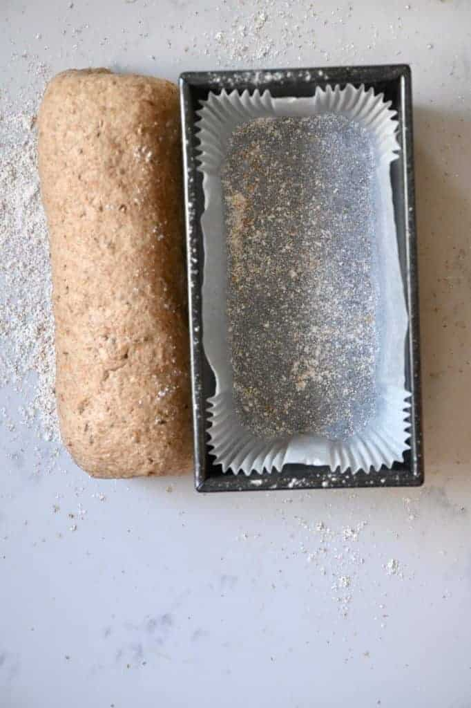 Bread loaf tin and dough
