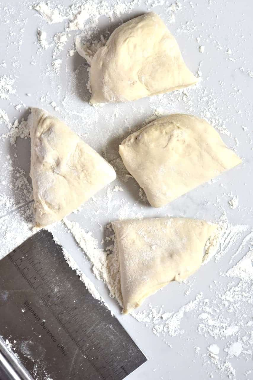 Pieces of Pita bread dough