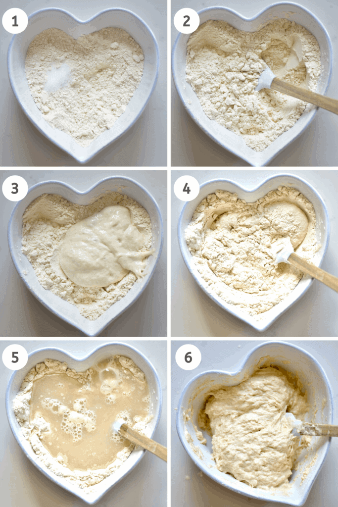 Mixing flour with yeast for pizza dough