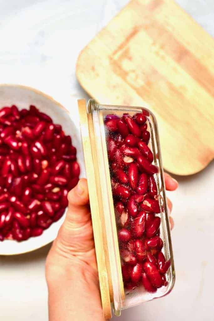 Red Kidney Beans in a freezer-safe container