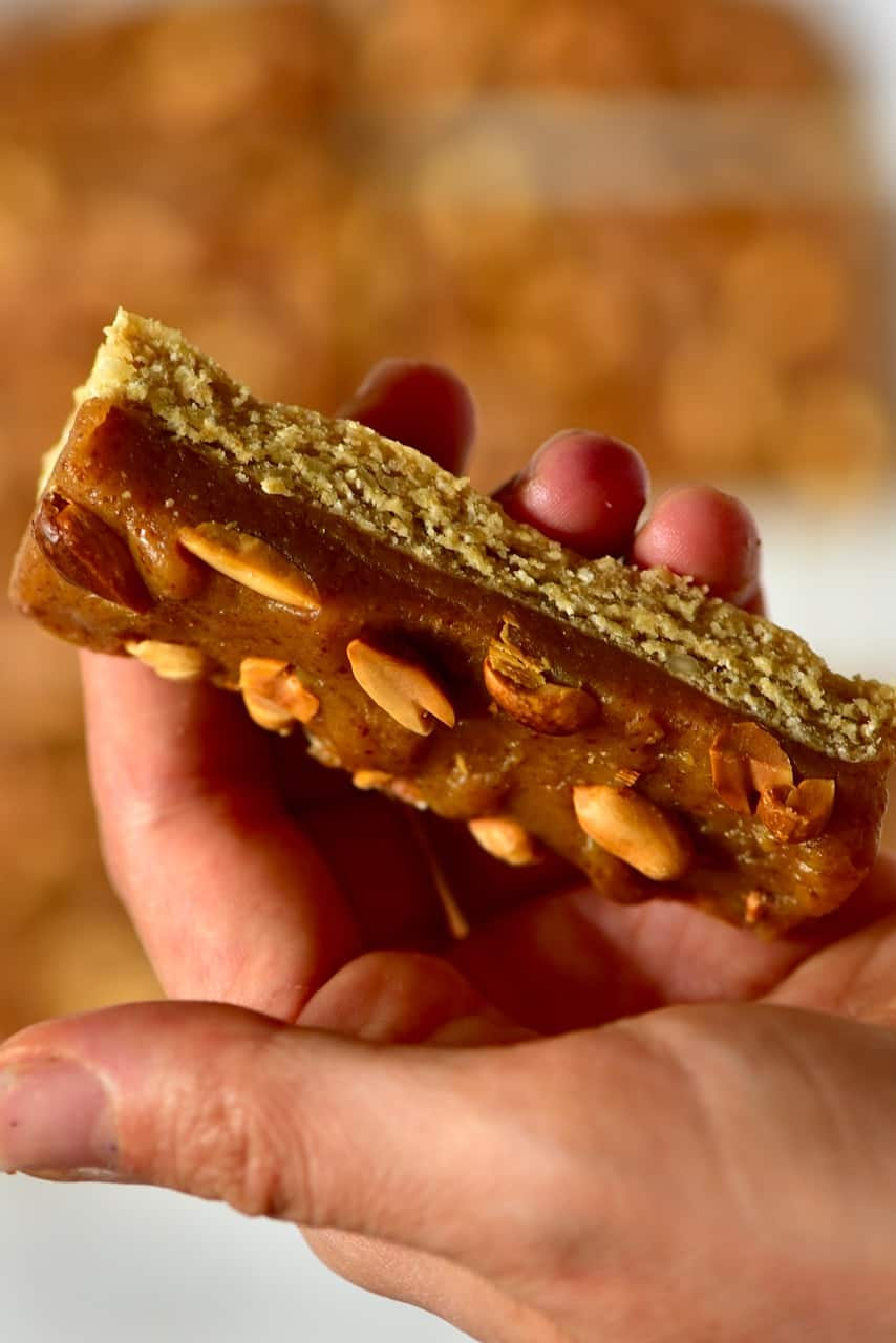 the layers of a homemade vegan snickers bar