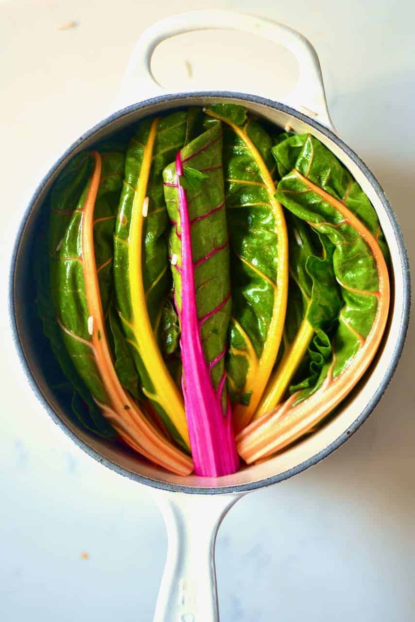 Stuffed chard leaves in a pot