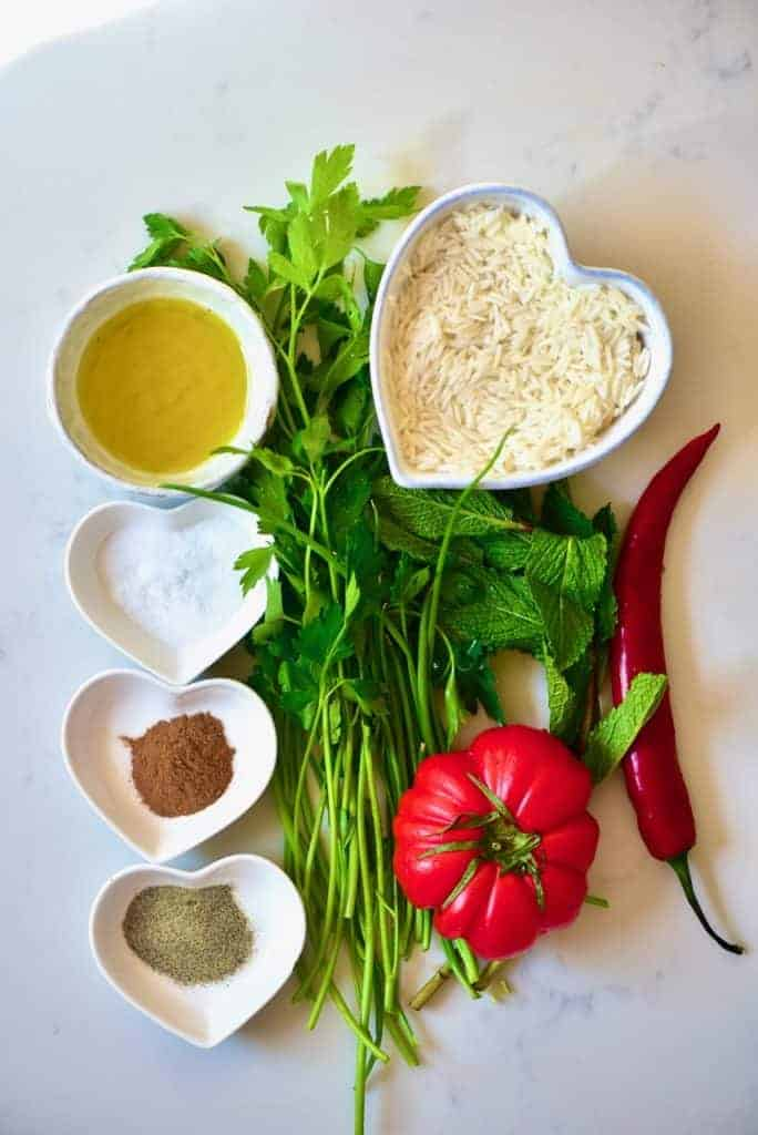 Ingredients for stuffed swiss shard leaves