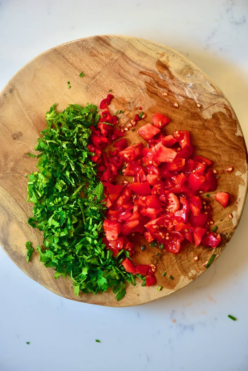 Chopped tomato and parsley