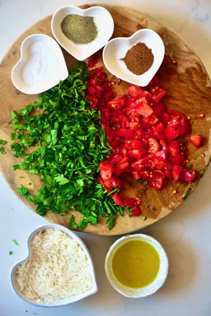 Chopped tomatoes and parsley