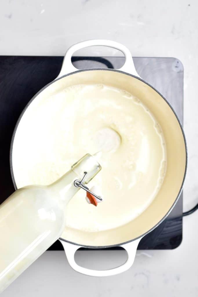 warming up milk