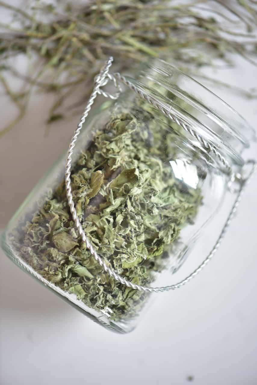 Dried oregano in a jar