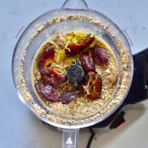 Almond flour and dates in a blender