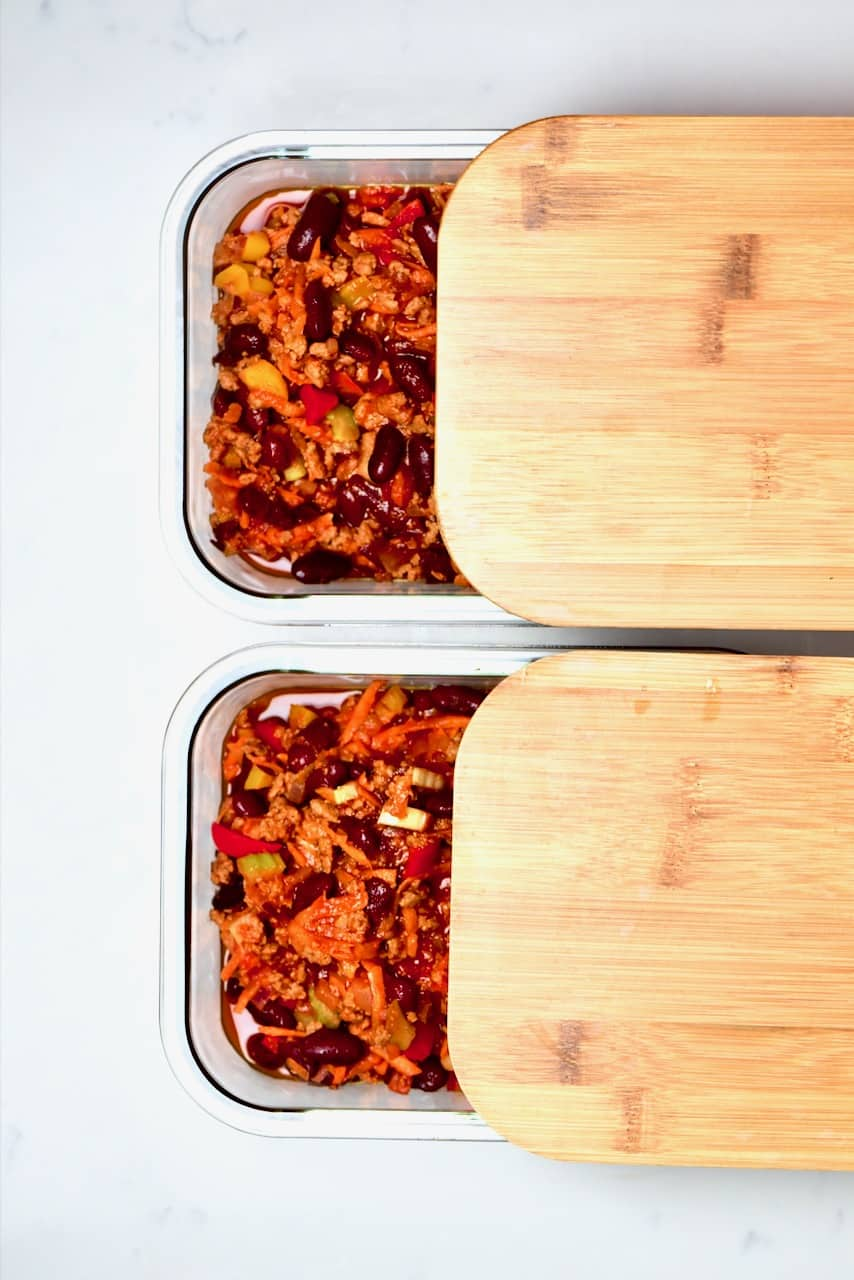 Two portions of Vegan Chilli con carne to freeze
