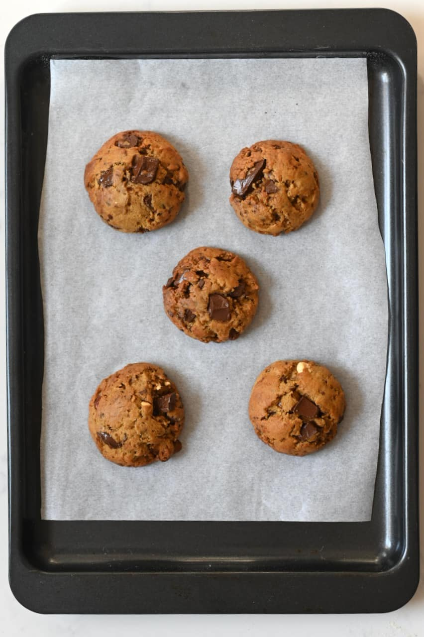 Vegan Chocolate Chip Cookies on a tray