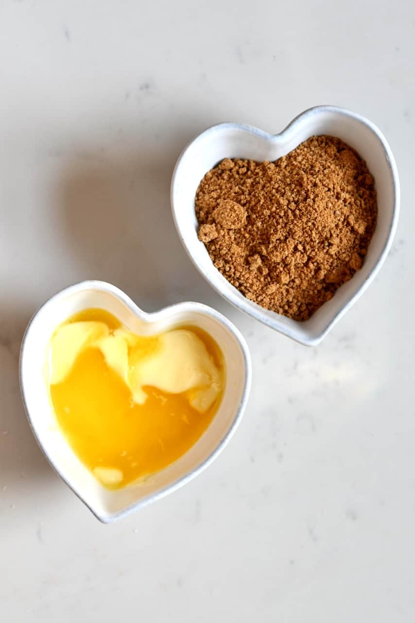 Sugar and vegan butter in bowls