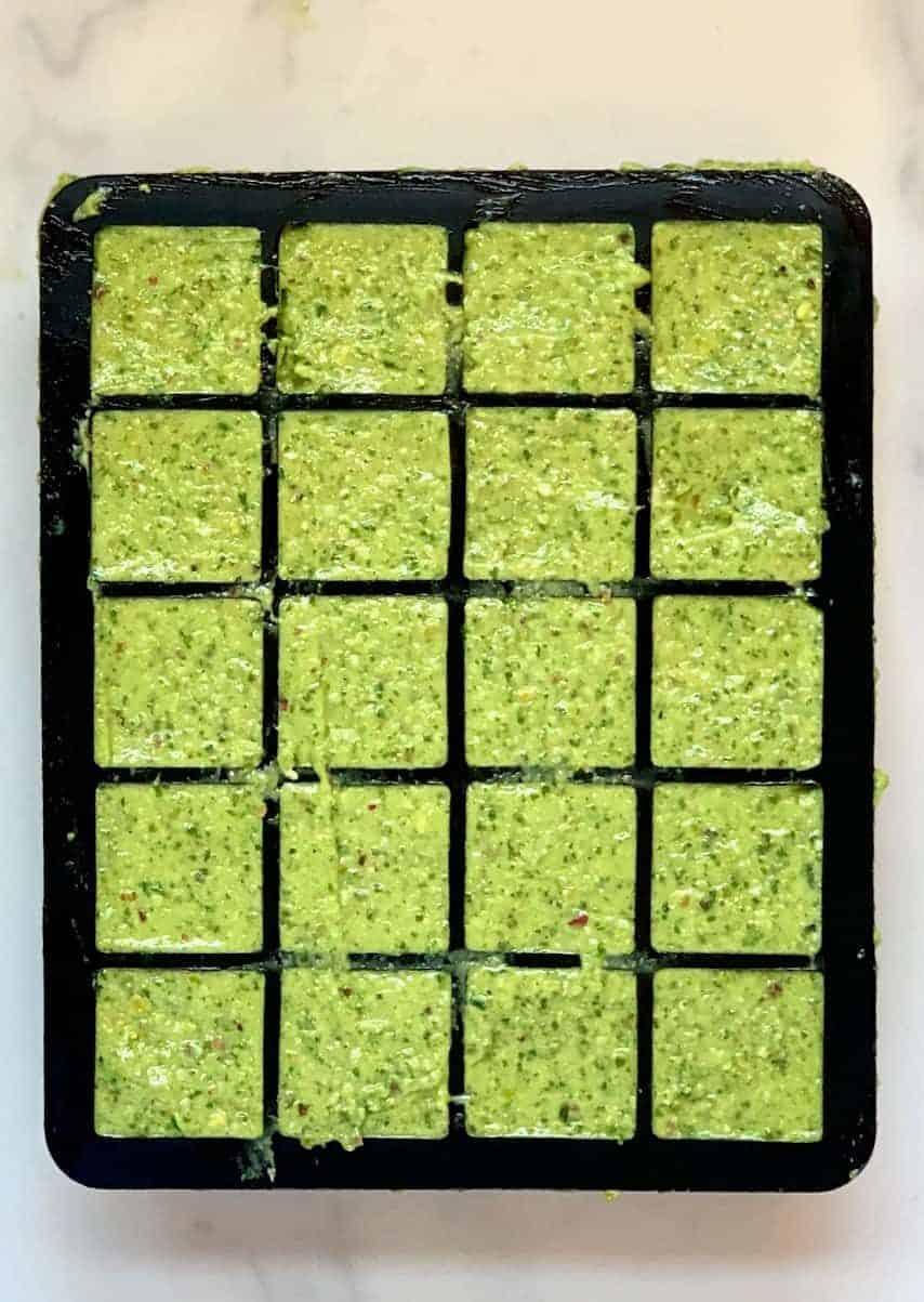 Vegan pesto in ice cube mould