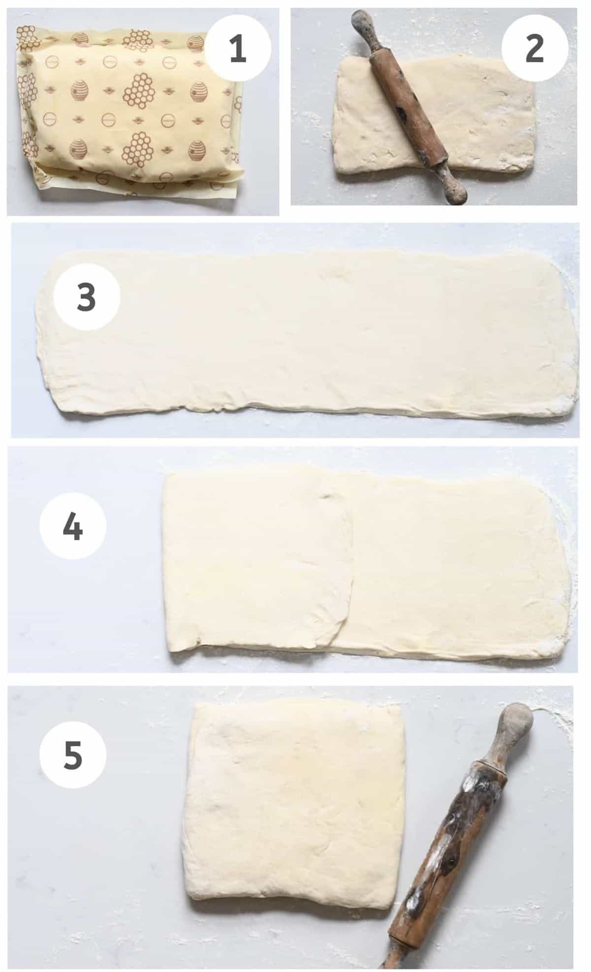 Steps to laminating dough for croissant