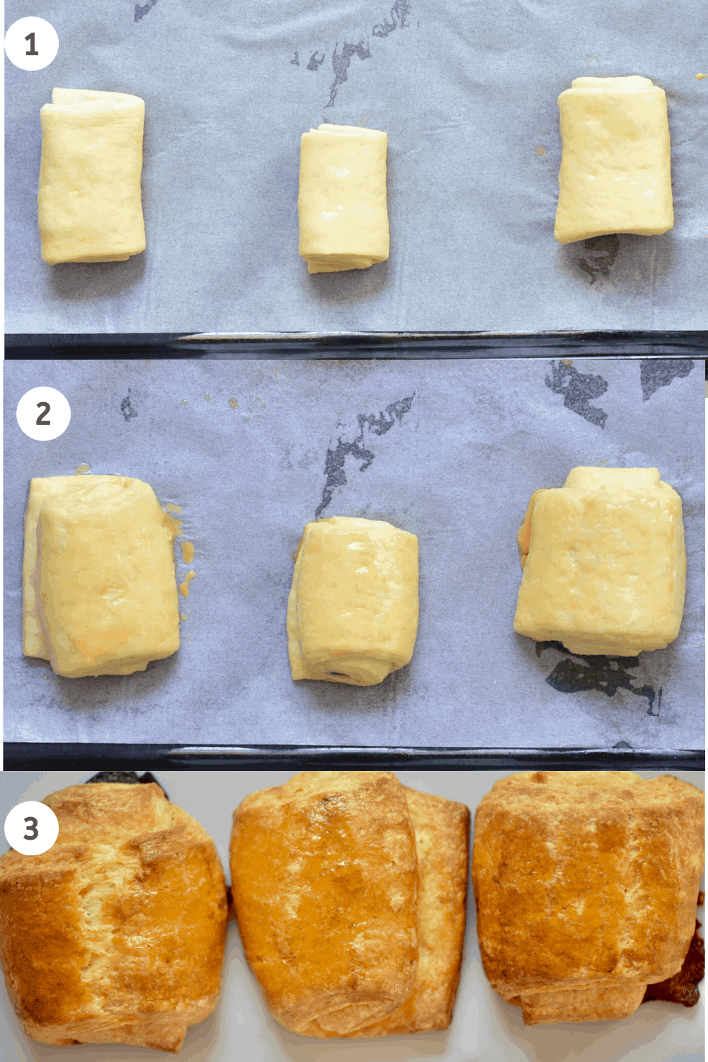 Chocolate filled croissants - making