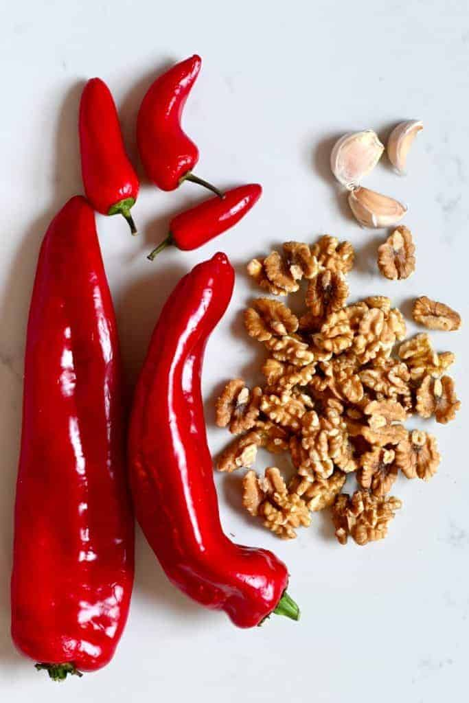Red peppers walnuts garlic