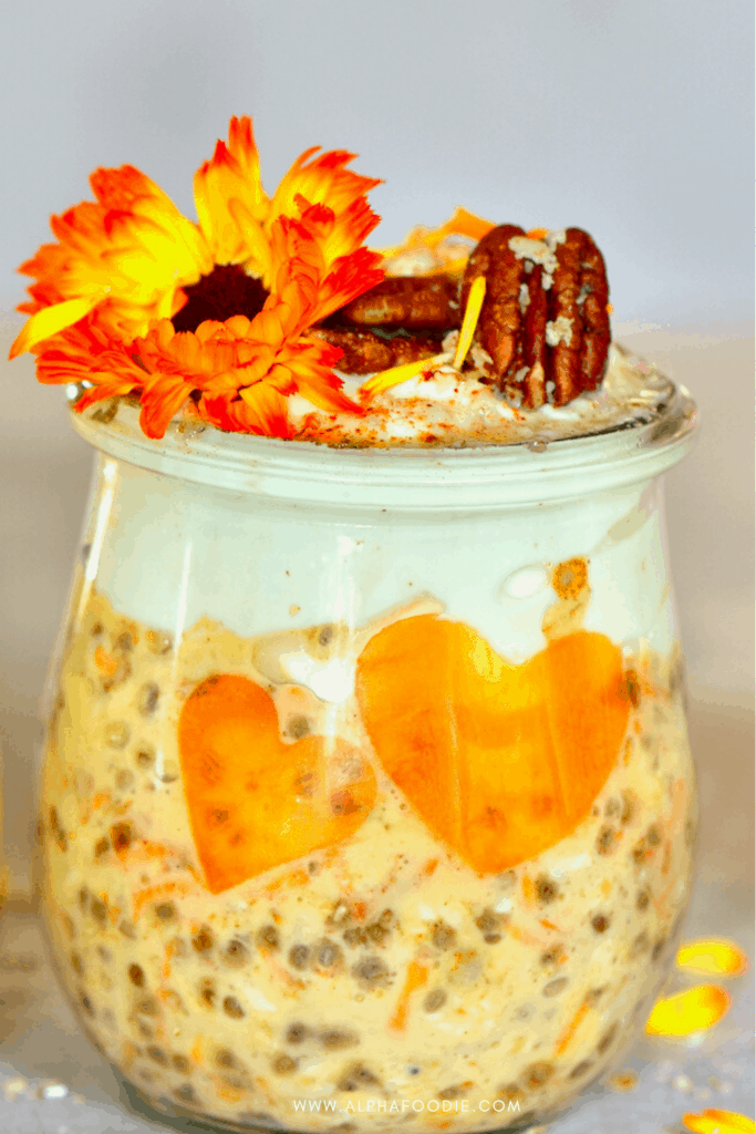 Overnight oats with carrot in a jar