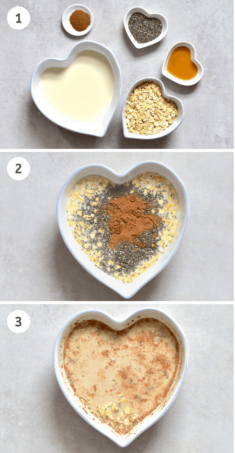 Steps to mixing Apple Pie Overnight Oats