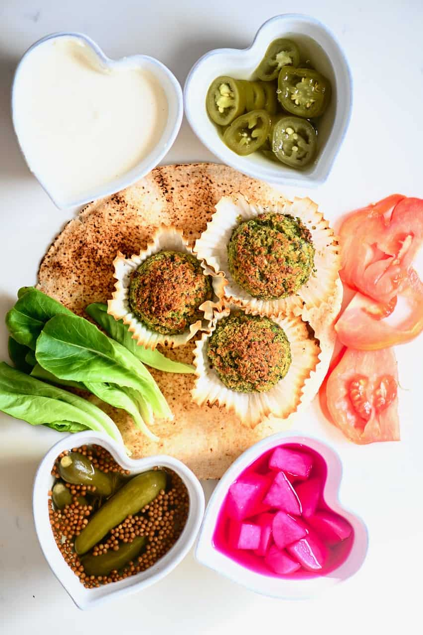all the needed fillings for falafel sandwich
