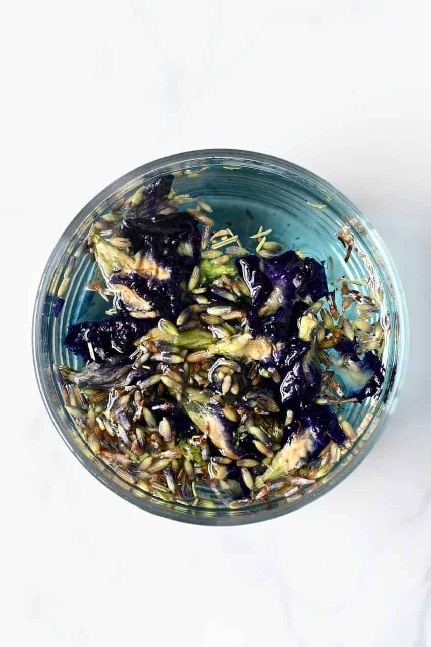 Steeped Butterfly Pea and lavender Flowers