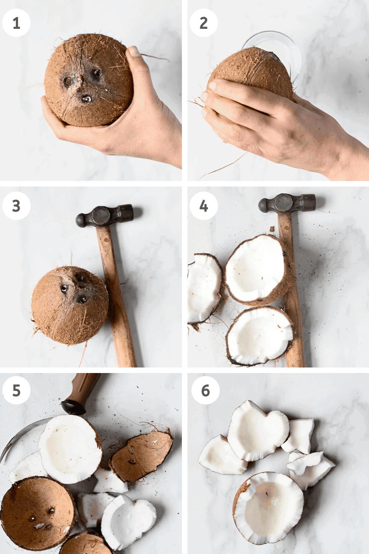 Breaking coconut steps