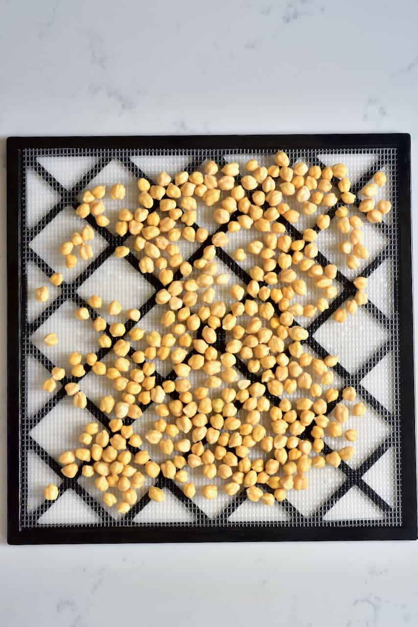 Dehydrating chickpeas in a dehydrator
