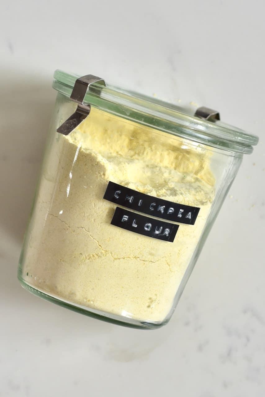 Chickpea flour in a jar