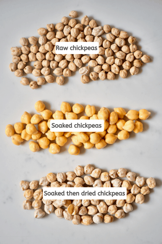 raw, soaked and soaked then dried chickpeas