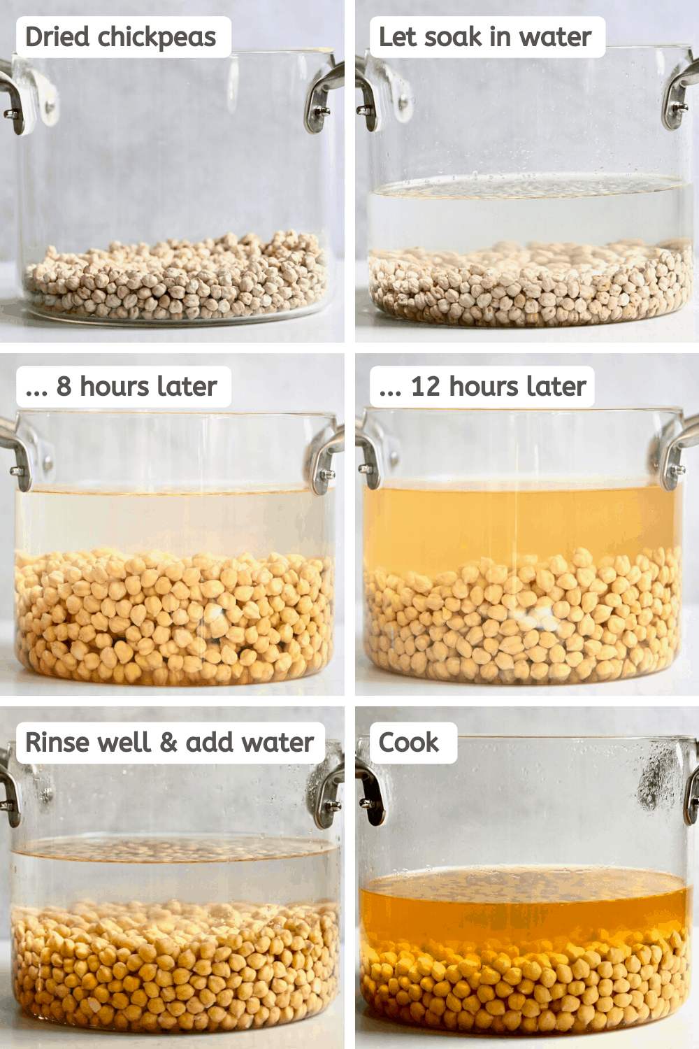 Soaking chickpeas steps