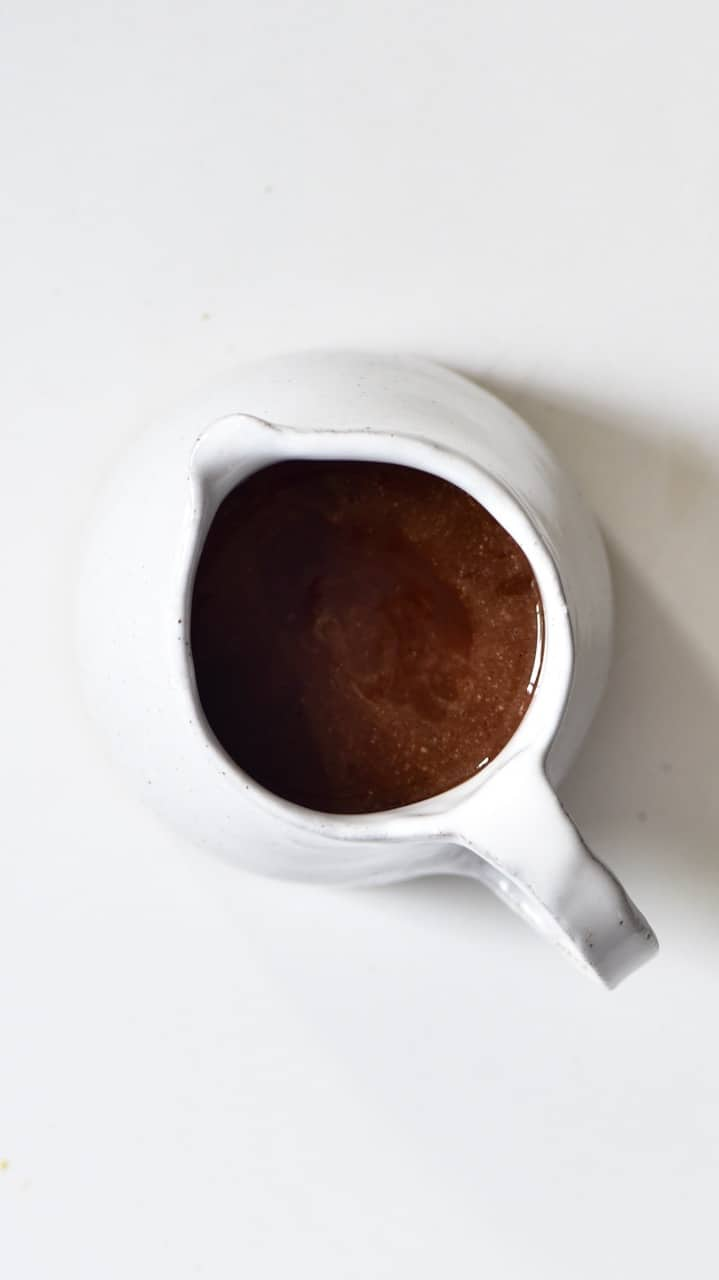 Chocolate Fudge mixture inside in a small jug
