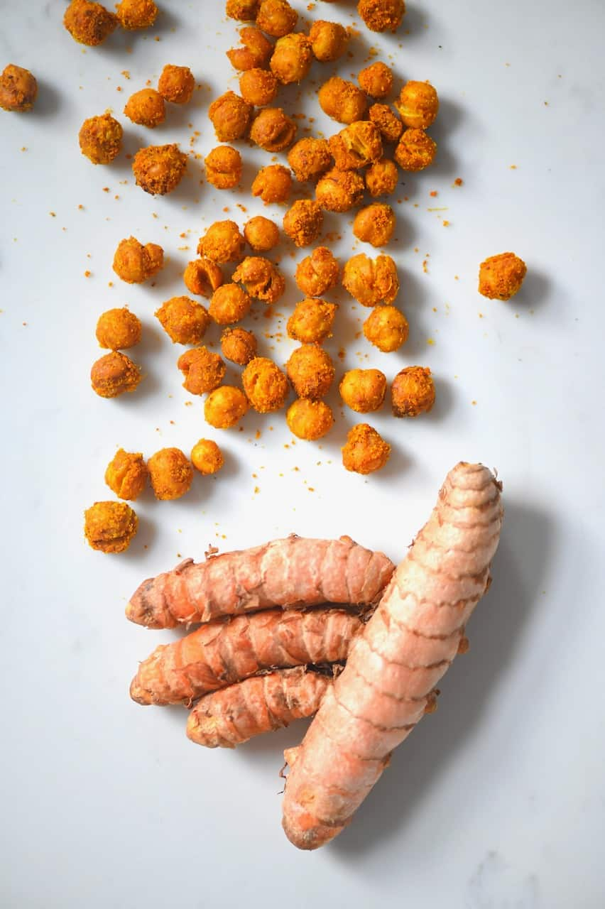 roasted chickpeas and a turmeric root