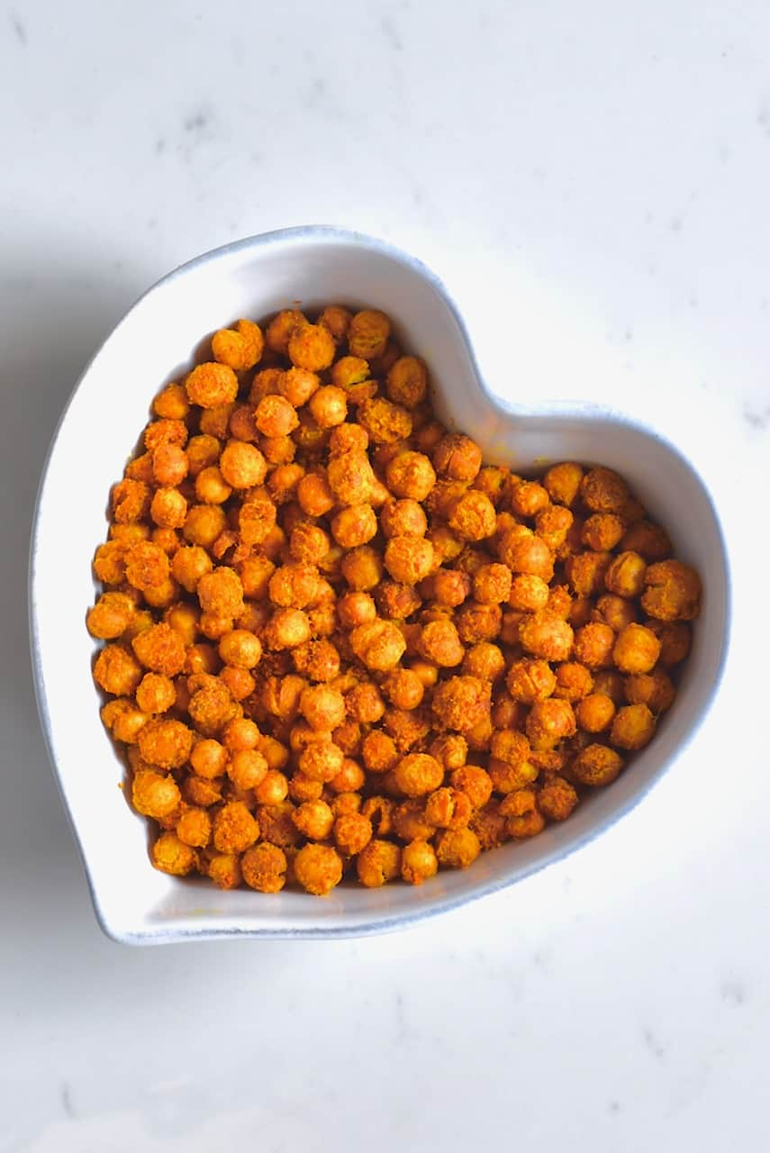 A bowl with roasted chickpeas