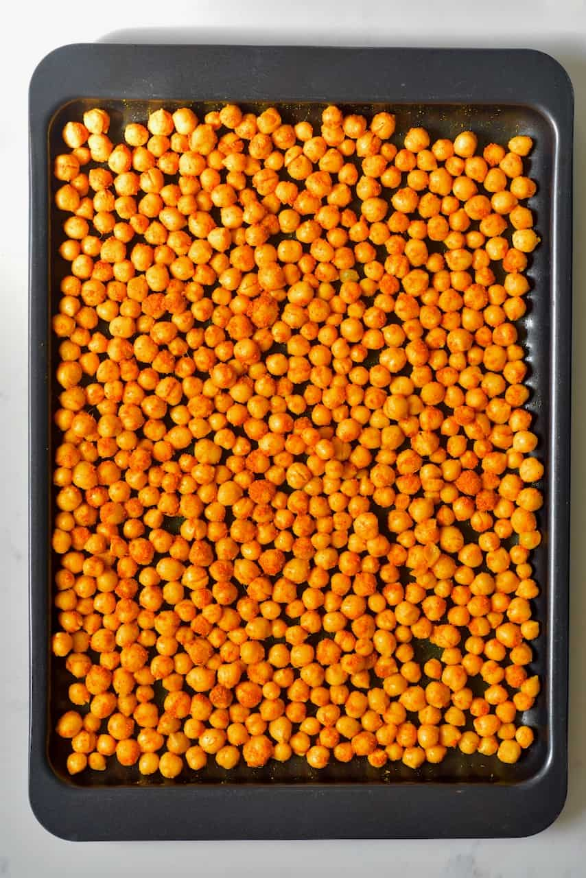 Chickpeas in a tray to roast