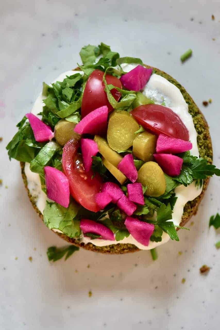 Easy Vegan Healthy Baked Falafel with pickles