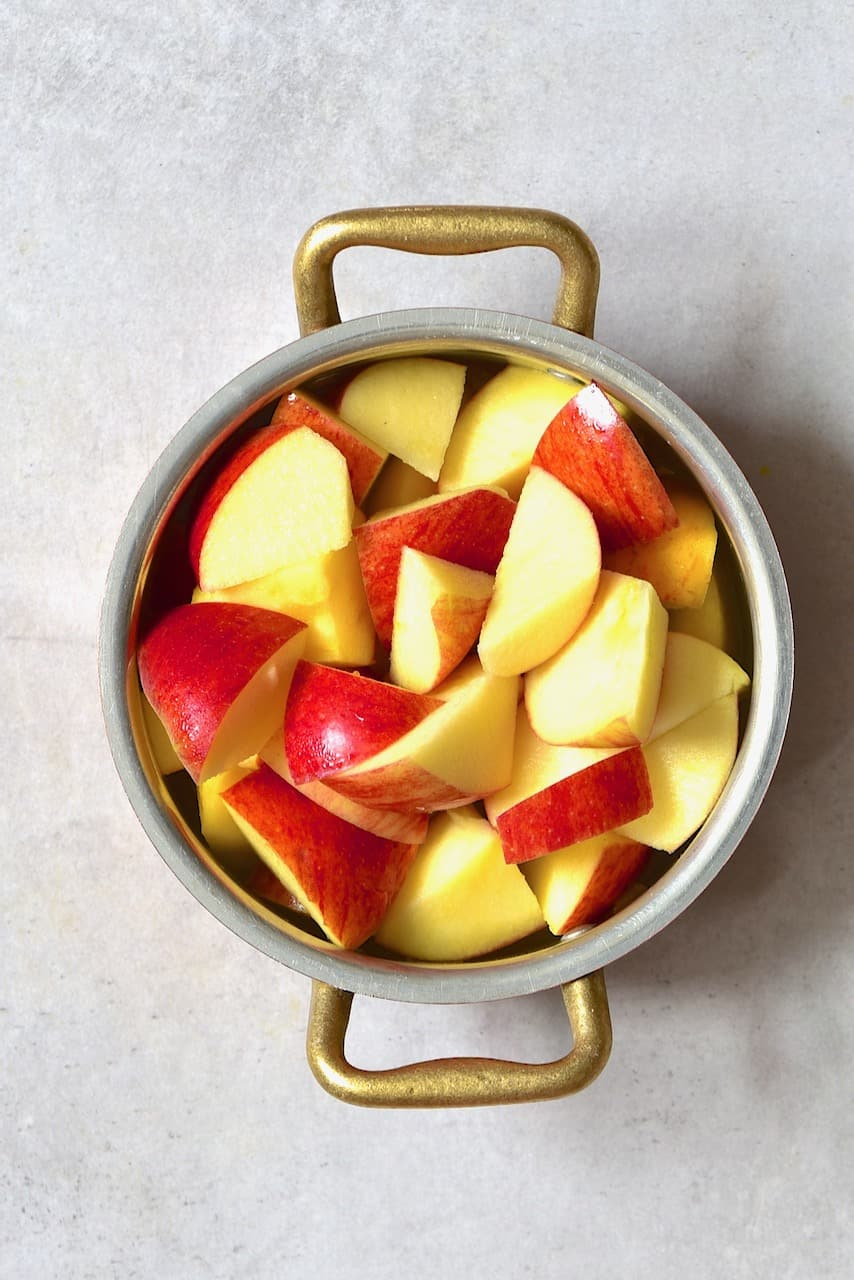 Chopped apples in a little pot