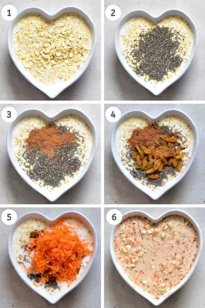 Steps to mixing the oats base for overnight oats